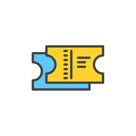 filled: Tickets filled outline icon, line vector sign, linear colorful pictogram. Symbol,  illustration. Pixel perfect Illustration
