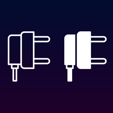 power cables: AC power plug line and solid icon, outline and filled vector sign, linear and full pictogram isolated on white. Symbol, illustration Illustration