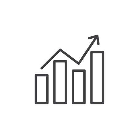 aligned: Chart graph with arrow line icon, outline vector sign, linear style pictogram isolated on white. Symbol, illustration. Editable stroke. Pixel perfect