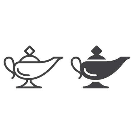 Magische Öllampenlinie und feste Ikone, Entwurf und gefülltes Vektorzeichen, lineares und volles Piktogramm lokalisiert auf Weiß. Symbol, Abbildung Standard-Bild - 78108228
