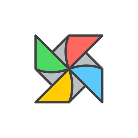 wind mill toy: Paper Windmill Pinwheel filled outline icon, line vector sign, linear colorful pictogram. Symbol, illustration. Pixel perfect