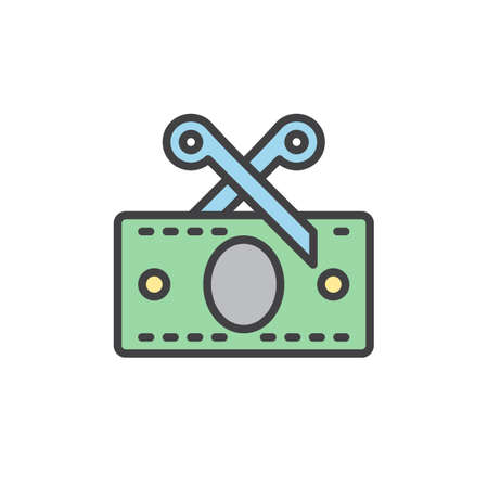 worthless: Tax, Scissors and money banknote filled outline icon, line vector sign, linear colorful pictogram. Symbol,  illustration. Pixel perfect