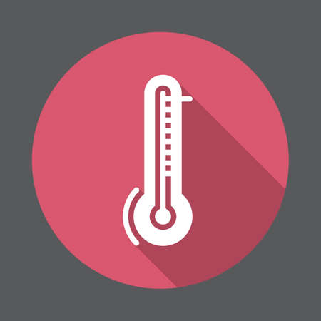 Thermometer, temperature flat icon. Round colorful button, circular vector sign with long shadow effect. Flat style design Illustration