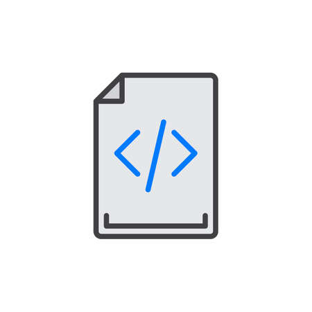 Source code filled outline icon, line vector sign, linear colorful pictogram. Symbol, illustration. Pixel perfect