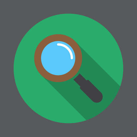 magnify: Search, magnifying glass flat icon. Round colorful button, circular vector sign with long shadow effect. Flat style design