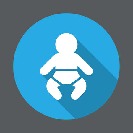 Baby flat icon. Round colorful button, circular vector sign with long shadow effect. Flat style design