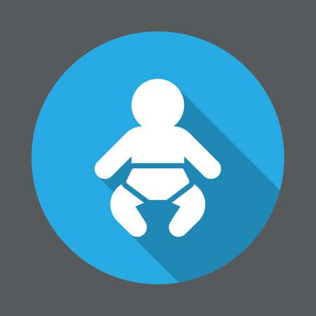 Baby platte pictogram. Ronde kleurrijke knop, circulaire vector teken met lange schaduweffect. Vlakke stijl ontwerp