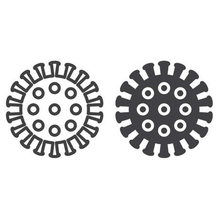 Coronavirus, virus line and solid icon, outline and filled vector sign, linear and full pictogram isolated on white. Symbol, illustration