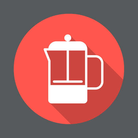 French press pot flat icon. Round colorful button, circular vector sign with long shadow effect. Flat style design