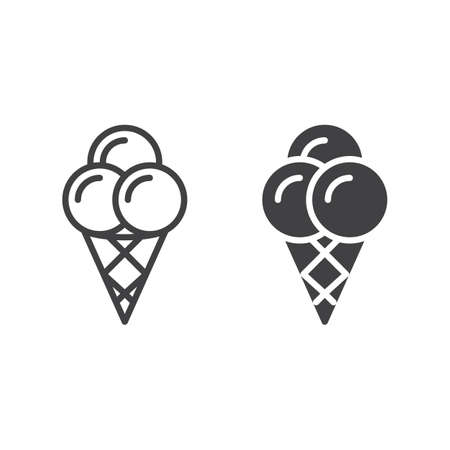 Ice cream cone line and solid icon, outline and filled vector sign, linear and full pictogram isolated on white. Symbol, illustration Illustration