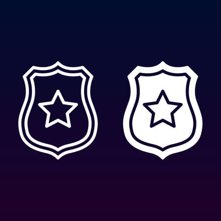 Public safety, Sheriff badge with star line and solid icon, outline and filled vector sign, linear and full pictogram isolated on white. Symbol, illustration