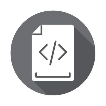 Source code flat icon. Round colorful button, circular vector sign with long shadow effect. Flat style design
