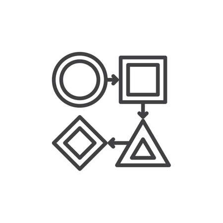Flow Chart Line Icon Outline Vector Sign Linear Style Pictogram