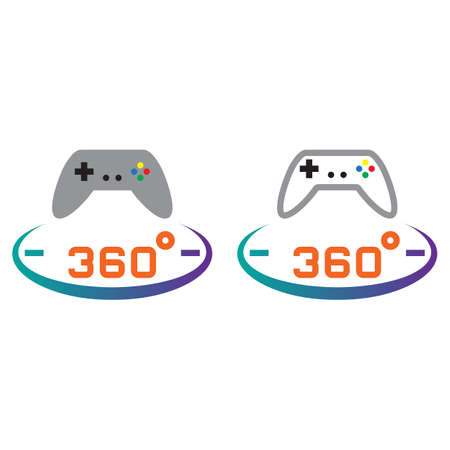 Degree Panoramic Game Line Icon Outline And Solid Vector - Game outline