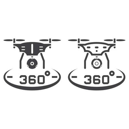 drone with camera line icon, outline and solid vector sign, linear and full pictogram isolated on white, logo illustration