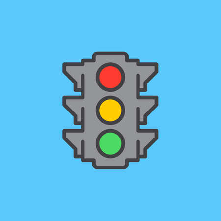 Traffic light filled outline icon, line vector sign, flat colorful pictogram. Symbol, logo illustration. Pixel perfect