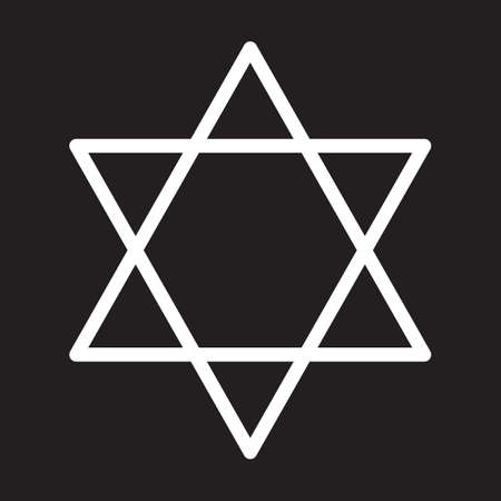 Star of David line icon, white outline sign, vector illustration