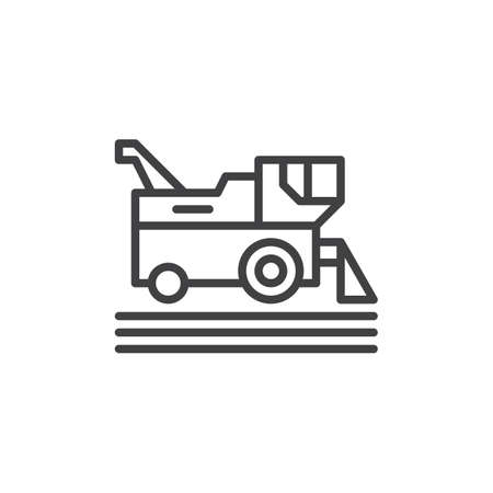 Combine harvester line icon, outline vector sign, linear style pictogram isolated on white. Symbol, logo illustration. Editable stroke. Pixel perfect Illustration