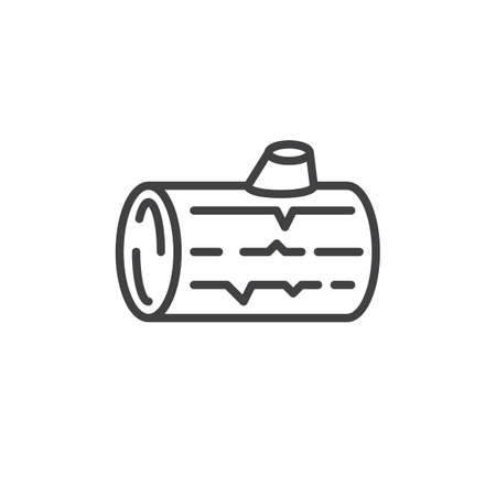 Wood log line icon, outline vector sign, linear style pictogram isolated on white. Symbol, logo illustration. Editable stroke. Pixel perfect Ilustrace