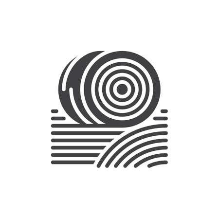 Balle di fieno icona vettoriale, segno piatto riempito, solido pittogramma isolato su bianco. Simbolo, illustrazione logo. Pixel perfetto Archivio Fotografico - 78500438