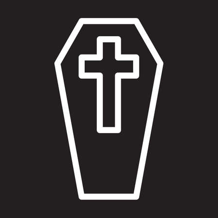 aligned: Coffin with cross line icon, white outline sign, vector illustration