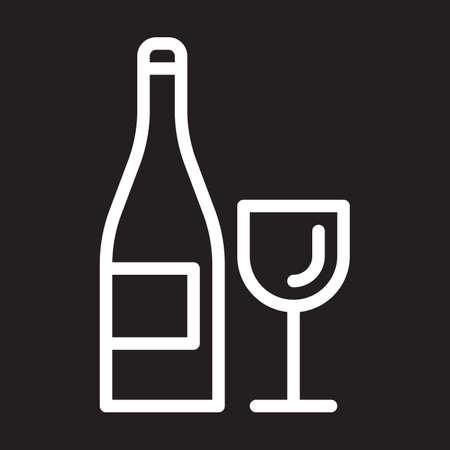 white wine: Wine bottle and glass line icon, white outline sign, vector illustration Illustration