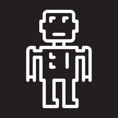 Robot line icon, white outline sign, vector illustration