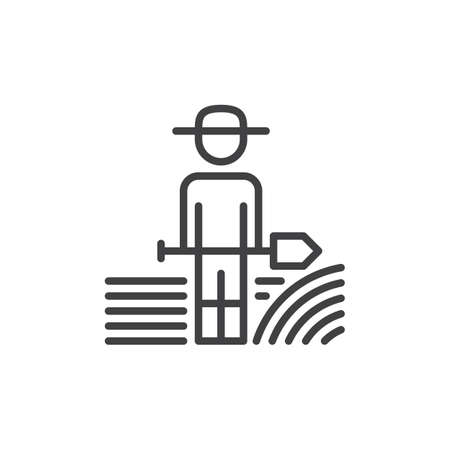 Farmer man with shovel line icon, outline vector sign, linear style pictogram isolated on white. Symbol, logo illustration. Editable stroke. Pixel perfect