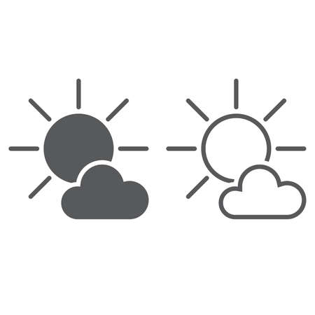 mostly: Mostly Sunny weather Icon. solid and outline