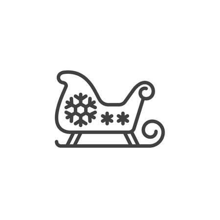 santa sleigh: Christmas Sled, Santas Sleigh line icon, outline vector sign, linear pictogram isolated on white. logo illustration Illustration