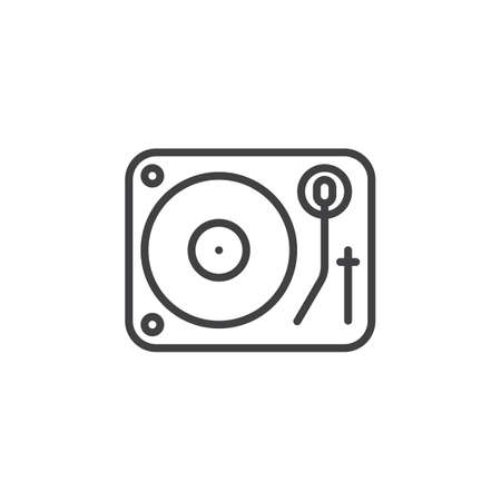 Dj vinyl turntable line icon, outline vector sign, linear pictogram isolated on white. logo illustration