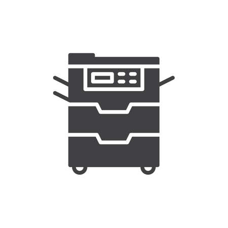 Copy machine icon vector, filled flat sign, solid pictogram isolated on white. Document copier symbol, logo illustration. Pixel perfect