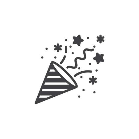 Confetti Popper icon vector, filled flat sign, solid pictogram isolated on white, logo illustration