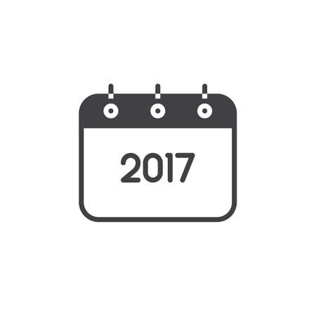 2017 Year Calendar line icon, outline vector sign, linear pictogram isolated on white. logo illustration