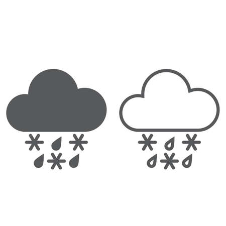 sleet: sleet weather icon. solid and outline
