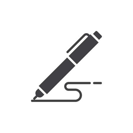 autograph: Pen, write icon vector, filled flat sign, solid pictogram isolated on white. Symbol, logo illustration. Pixel perfect Illustration