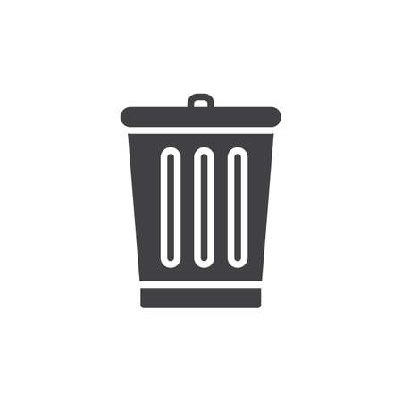 Trash bin icon vector, filled flat sign, solid pictogram isolated on white. Delete symbol, logo illustration. Pixel perfect
