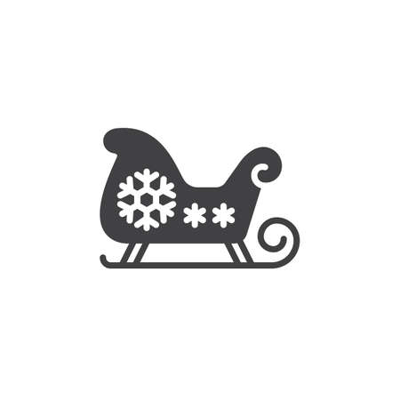 santa sleigh: Christmas Sled, Santas Sleigh icon vector, filled flat sign, solid pictogram isolated on white, logo illustration