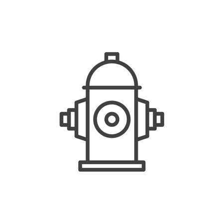 safe water: Fire hydrant line icon, outline vector sign, linear style pictogram isolated on white. Illustration