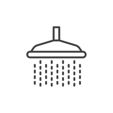 Shower line icon, outline vector sign, linear style pictogram isolated on white.