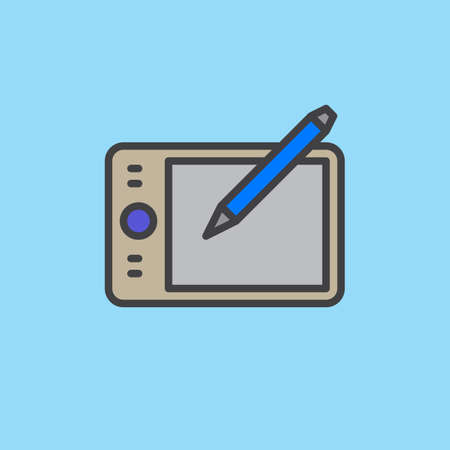 Pen tablet digitizer filled outline icon, colorful vector sign