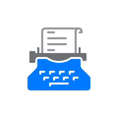 writer: Typewriter colorful icon, vector flat sign. Copywriting symbol, logo illustration Illustration