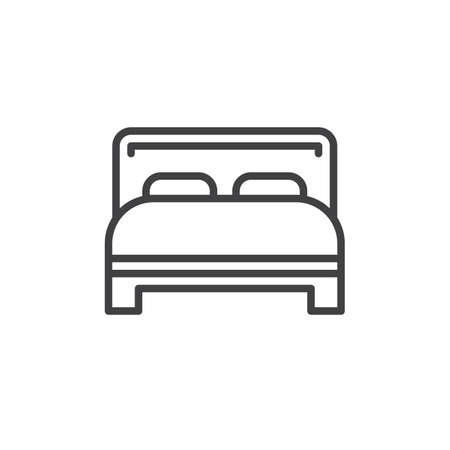 twin bed: Double bed line icon, outline vector sign, linear style pictogram isolated on white. Symbol, logo illustration. Editable stroke. Pixel perfect
