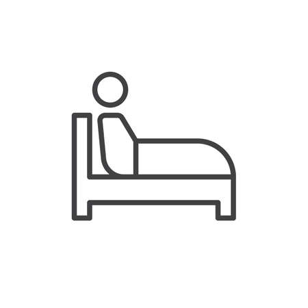 Sitting in bed line icon, outline vector sign, linear style pictogram isolated on white. Insomnia symbol, logo illustration. Editable stroke. Pixel perfect Çizim