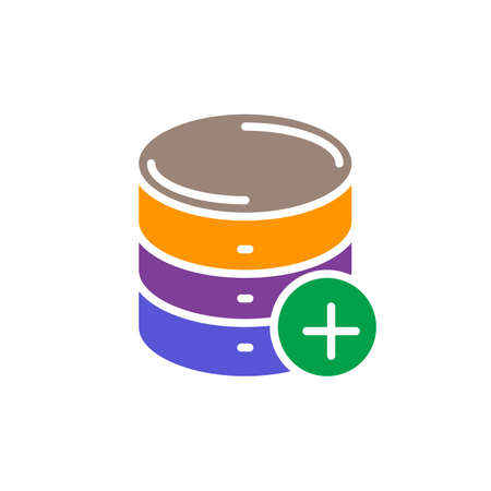 Add database colorful icon, vector flat sign. Symbol, logo illustration