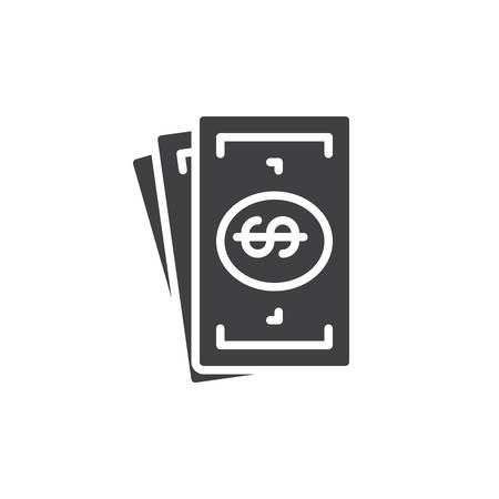 tax aligned: Cash money icon vector, filled flat sign, solid pictogram isolated on white. Symbol, illustration. Pixel perfect