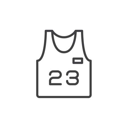 jersey: Basketball jersey line icon, outline vector sign, linear style pictogram isolated on white. Symbol, logo illustration. Editable stroke. Pixel perfect