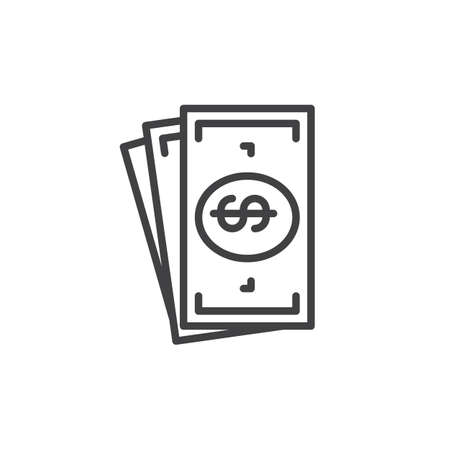 tax aligned: Cash money line icon, outline vector sign, linear style pictogram isolated on white. Symbol, illustration. Editable stroke. Pixel perfect