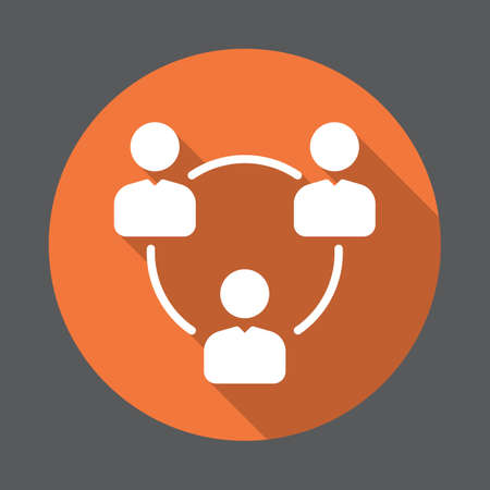 People circle, group of users flat icon. Round colorful button, circular vector sign with long shadow effect. Flat style design