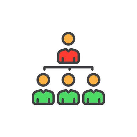 Manager, organization chart filled outline icon, colorful vector sign, Symbol, logo illustration Illustration